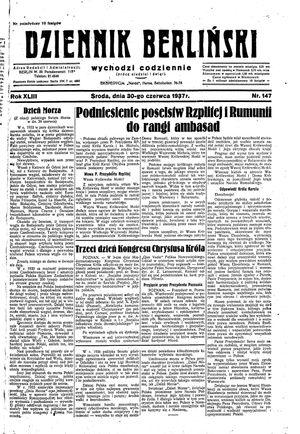 Dziennik Berliński vom 30.06.1937