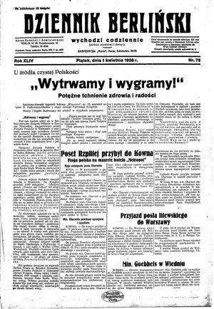 Dziennik Berliński vom 01.04.1938