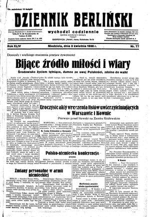 Dziennik Berliński vom 03.04.1938