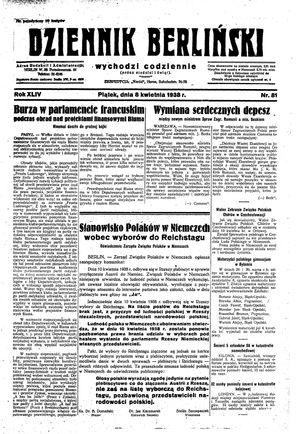 Dziennik Berliński vom 08.04.1938