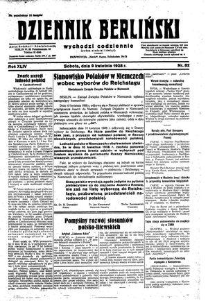 Dziennik Berliński vom 09.04.1938