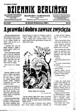 Dziennik Berliński vom 15.04.1938
