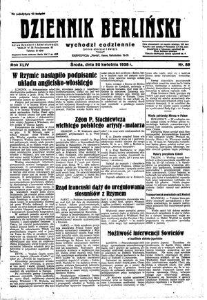 Dziennik Berliński vom 20.04.1938