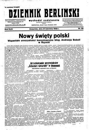 Dziennik Berliński vom 21.04.1938