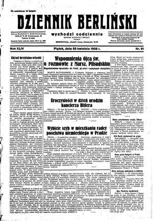 Dziennik Berliński vom 22.04.1938