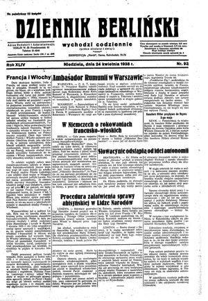 Dziennik Berliński on Apr 24, 1938