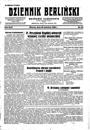 Dziennik Berliński vom 26.04.1938