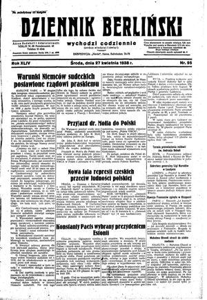 Dziennik Berliński vom 27.04.1938