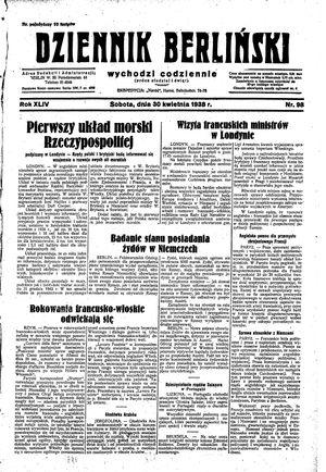 Dziennik Berliński vom 30.04.1938