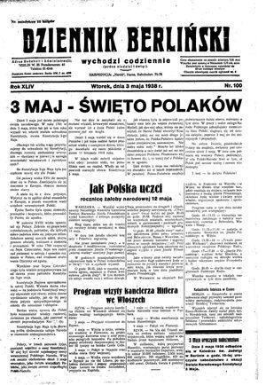 Dziennik Berliński vom 03.05.1938