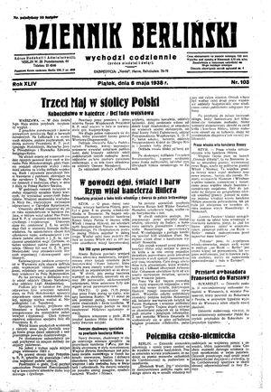 Dziennik Berliński on May 6, 1938