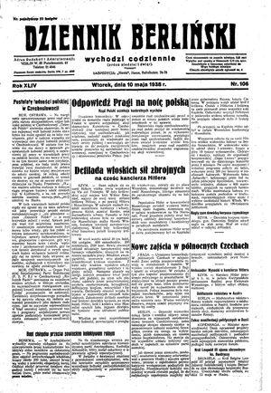Dziennik Berliński on May 10, 1938