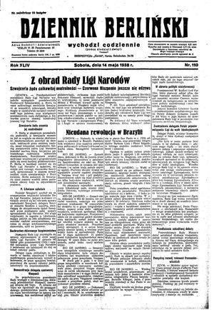 Dziennik Berliński vom 14.05.1938