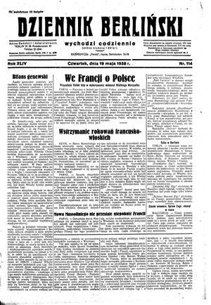 Dziennik Berliński vom 19.05.1938