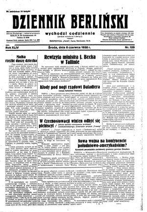 Dziennik Berliński vom 08.06.1938