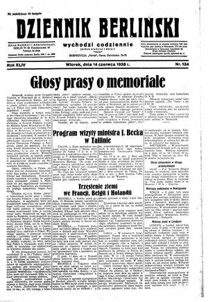 Dziennik Berliński vom 14.06.1938