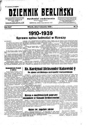 Dziennik Berliński vom 03.01.1939