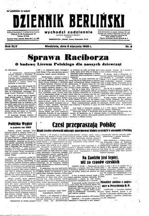 Dziennik Berliński vom 08.01.1939