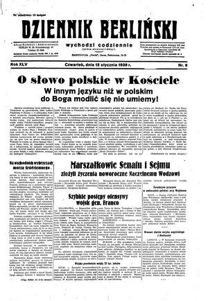 Dziennik Berliński on Jan 12, 1939