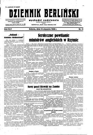 Dziennik Berliński vom 14.01.1939