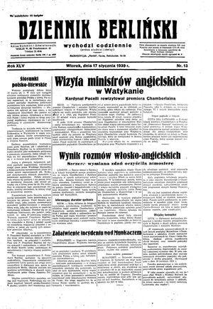 Dziennik Berliński on Jan 17, 1939
