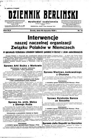 Dziennik Berliński vom 18.01.1939