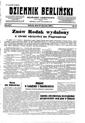 Dziennik Berliński vom 21.01.1939