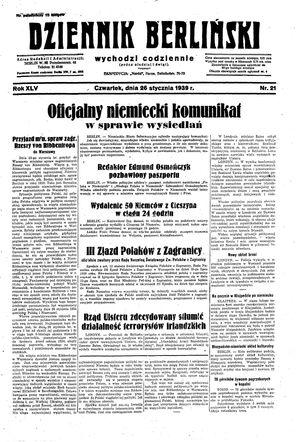 Dziennik Berliński on Jan 26, 1939