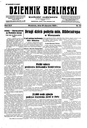 Dziennik Berliński vom 29.01.1939
