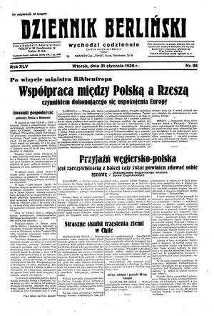 Dziennik Berliński vom 31.01.1939
