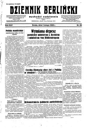 Dziennik Berliński vom 01.02.1939