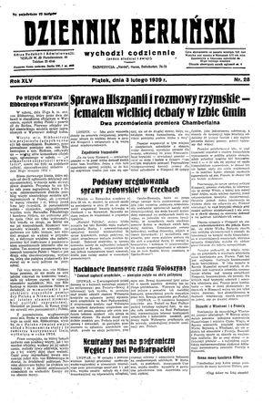 Dziennik Berliński on Feb 3, 1939
