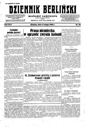 Dziennik Berliński vom 04.02.1939