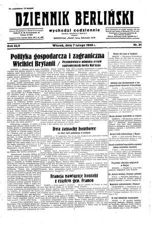 Dziennik Berliński vom 07.02.1939