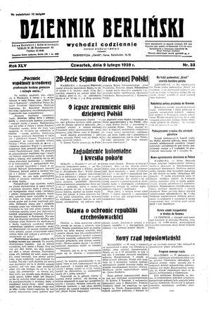 Dziennik Berliński vom 09.02.1939