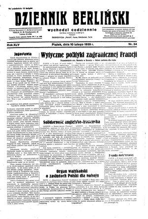 Dziennik Berliński vom 10.02.1939