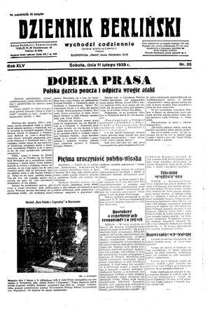 Dziennik Berliński vom 11.02.1939
