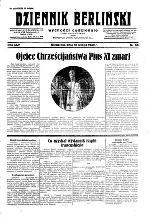 Dziennik Berliński vom 12.02.1939