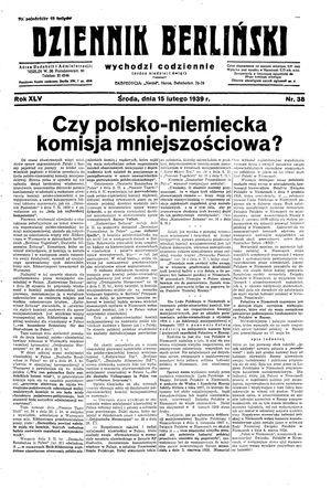 Dziennik Berliński vom 15.02.1939