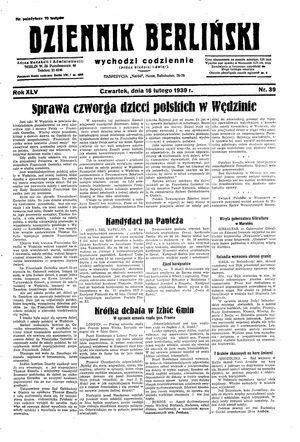 Dziennik Berliński on Feb 16, 1939