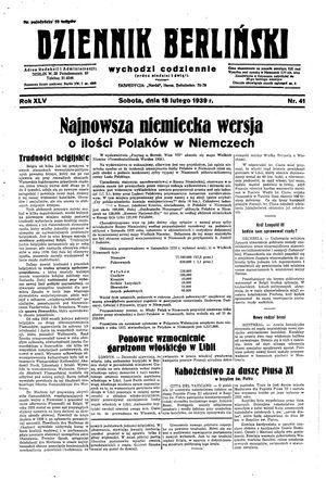 Dziennik Berliński vom 18.02.1939