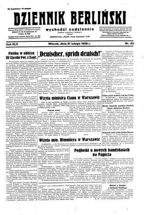 Dziennik Berliński vom 21.02.1939