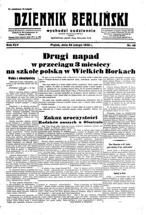 Dziennik Berliński on Feb 24, 1939