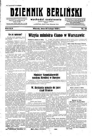 Dziennik Berliński vom 28.02.1939