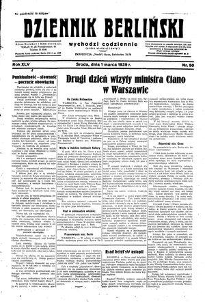 Dziennik Berliński vom 01.03.1939
