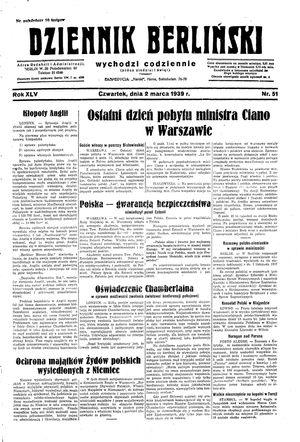 Dziennik Berliński vom 02.03.1939
