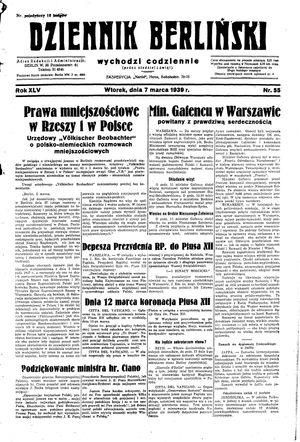 Dziennik Berliński on Mar 7, 1939