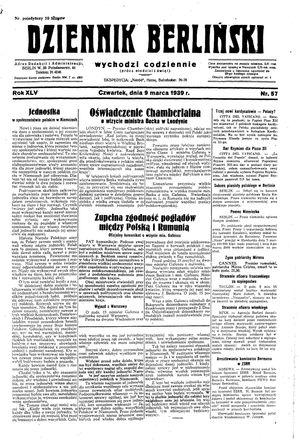 Dziennik Berliński vom 09.03.1939