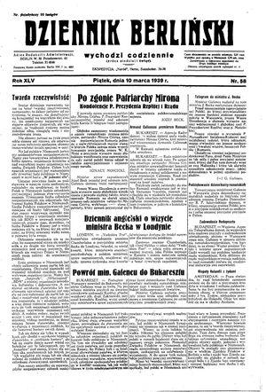 Dziennik Berliński vom 10.03.1939