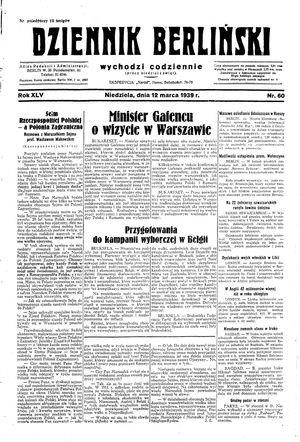 Dziennik Berliński vom 12.03.1939